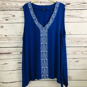 Adrianna Papell Embroidered Sleeveless Tunic